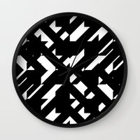the hound Wall Clocks featuring Shattered Hound by Martin Isaac