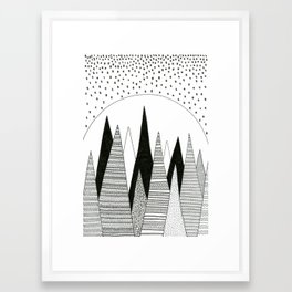Moonlight Forest (pen on paper) Framed Art Print