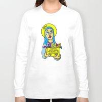 les mis Long Sleeve T-shirts featuring Corrige, Santa María, mis faltas... de ortografía by Mis Santitos