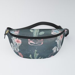 Rose Gold Desert Potted Cactuses and Succulents Night Sky Fanny Pack
