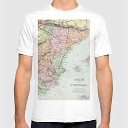 Vintage Map of Spain and Portugal T-shirt