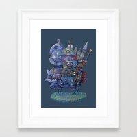 fandom Framed Art Prints featuring Fandom Moving Castle by nokeek