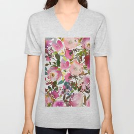 Pink coral forest green watercolor floral Unisex V-Neck