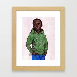 2018 free your mind from colonial oppression (green hoodie) art by marcellous lovelace Framed Art Print