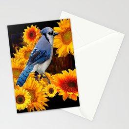 DECORATIVE BLUE JAY YELLOW SUNFLOWERS BLACK ART Stationery Cards