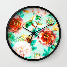 Tropical flowery fruit glitch Wall Clock