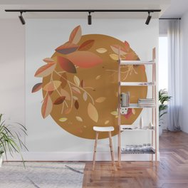 Playing with Autumn Leaves Wall Mural