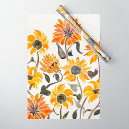 Sunflower Watercolor – Yellow & Black Palette Wrapping Paper