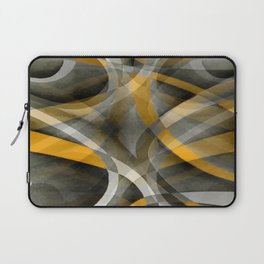 Eighties Retro Mustard Yellow and Grey Abstract Curves Laptop Sleeve