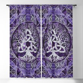 Tree of life with Triquetra Amethyst and silver Blackout Curtain