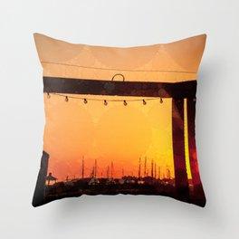 Yacht Basin Marina View Sunset Southport NC Throw Pillow