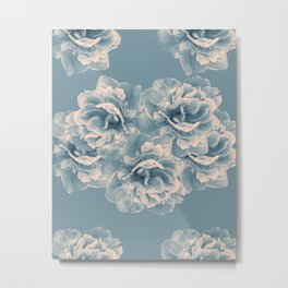 Blush Blue Peony Flower Bouquet #1 #floral #decor #art #society6 Metal Print