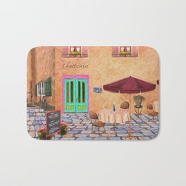 Trattoria Square – Italy – Painting by Liane Wright Bath Mat