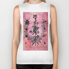 Vintage Bees with Toadflax Botanical illustration collage Biker Tank