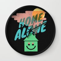 home alone Wall Clocks featuring Home Alone by Nick Nelson
