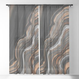 Glowing Marble Waves  Sheer Curtain