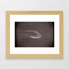 Battlestar Galactica BSG minimalist Cylon Raider Framed Art Print