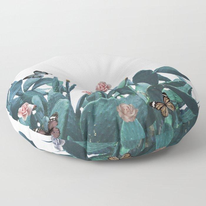 Cactus & Flowers - Follow your butterflies Floor Pillow