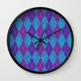 Textured Argyle in Purple, Fuchsia and Turquoise Wall Clock