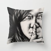 silent Throw Pillows featuring silent by dorilozada