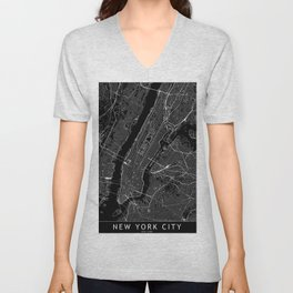 New York City Black Map Unisex V-Neck