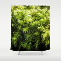 kate moss Shower Curtains featuring Moss by Michelle McConnell