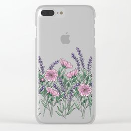 Pink and Lavender Floral Fields Clear iPhone Case