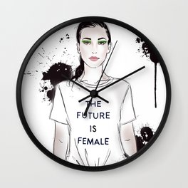 Beautiful woman with strong message t-shirt The Future is Female Wall Clock