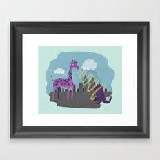 Giant Giraffe vs Godzilla Framed Art Print