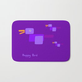 Happy Bird-Purple Bath Mat