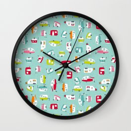 Multicolour Campers on aqua Wall Clock