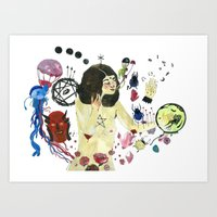 biology Art Prints featuring Biology Homework / Teen Witch by Eleanor Barker Illustration