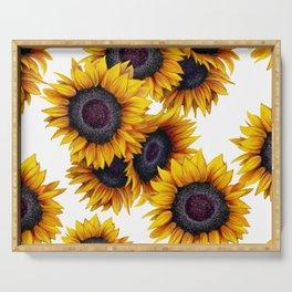 Sunflowers yellow white and dark grey pattern Serving Tray