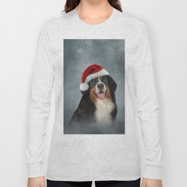 Bernese Mountain Dog in red hat of Santa Claus Long Sleeve T-shirt