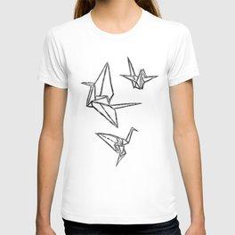 Origami Cranes Linocut T-shirt