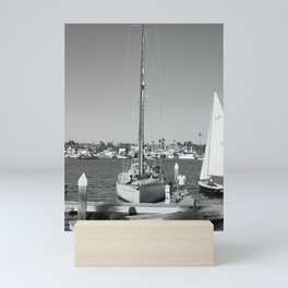 Sail Boat at The Newport Beach Harbor Mini Art Print