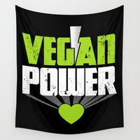 vegan Wall Tapestries featuring Vegan Power by DirtyStove
