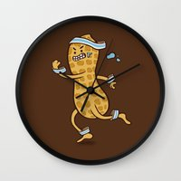 health Wall Clocks featuring Health Nut by Jelly Soup Studios