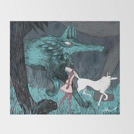 Woman Wolf wandering Throw Blanket