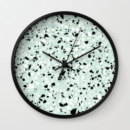 'Speckle Party' Mint Green Black White Dots Speckle Trendy Sporty Pattern Wall Clock