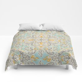 Gypsy Floral in Soft Neutrals, Grey & Yellow on Sage Comforters