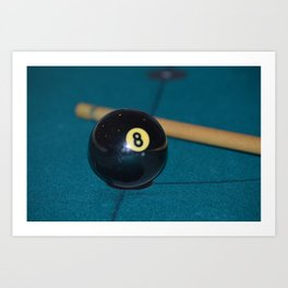 8 Ball and Pool Cue Perfect Father's Day Gift or For the Man Cave Art Print
