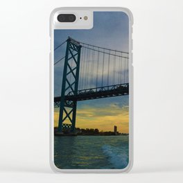 The Ambassador Bridge connects Detroit USA, & Windsor CA Clear iPhone Case