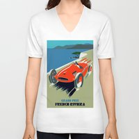 grand theft auto V-neck T-shirts featuring Retro style auto Grand Prix Rivièra by aapshop
