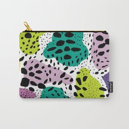 Modern abstract painted black polka dots fashion colors geometric shapes lavender lime Carry-All Pouch
