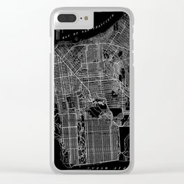 San Francisco 1920 Vintage Map in Reverse Black and White Clear iPhone Case
