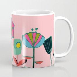 Mid century flowers pink Coffee Mug