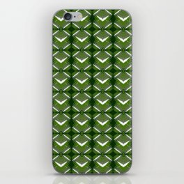 Grassy rhombuses of white stars with hearts in a bright intersection. iPhone Skin