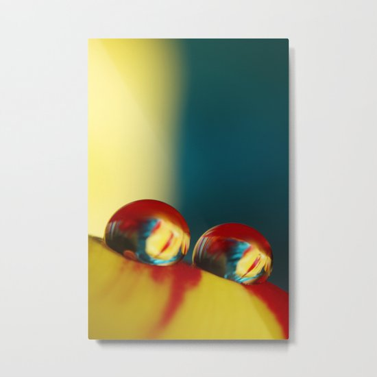 Rainbow Tulip Drops Metal Print