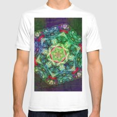 Stained glass fractal kaleidoscope Mens Fitted Tee White MEDIUM